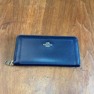Coach Navy Accordian Zip Around Wallet